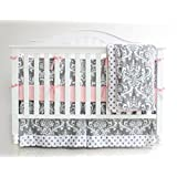 7 Pieces Set Grey Floral Baby Crib Nursery Bedding Set With Bumper