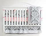 3 Pieces Set Grey Purple Floral Baby Crib Nursery Bedding Set (Pink) Reviews