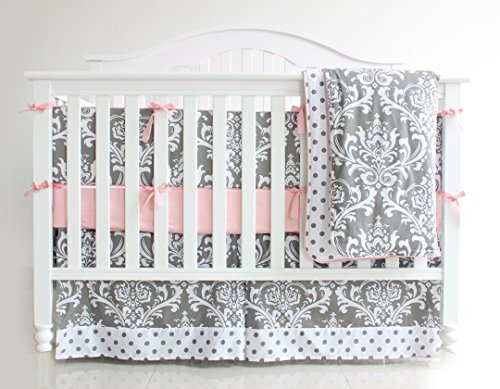 7 Pieces Set Grey Floral youngster Crib Nursery Bedding Set along with Bumper