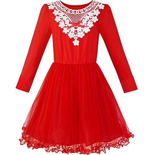 LS95 Girls Dress Red Long Sleeve White Lace Collar Tutu Dress Size 10