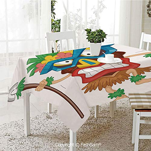 AmaUncle Party Decorations Tablecloth Native Man Wearing Mask Illustration Cartoon Tribal Costume Primitive Ritual Decorative Kitchen Rectangular Table Cover (W60 xL104) -