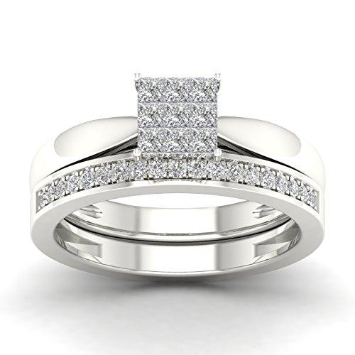 Fehu Jewel 0.41ct Natural Diamond 14k Gold Wedding Ring Set for Women (White-Gold, 7) -