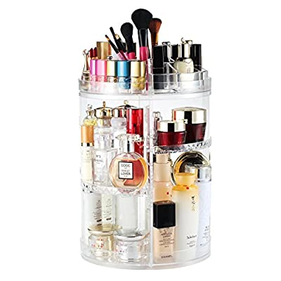 Rotating Makeup Organizer, Boxalls 360 Degree Crystal Adjustable Jewelry Cosmetic Perfumes Display Stand Box, 380 x 260 MM 8 Layers Great Capacity Make Up Storage For Dresser, Bedroom, Bathroom - ♛ [360º ROTATION]---This large rotating cosmetic storage is great as you can easily get what you need ♛ [ADJUSTABLE]---The multi-level adjustable makeup organizer has 4 middle trays, which can be fixed at lower or higher height adjusted by 6.7 inch, you can accommodate different types of cosmetics and containers ♛ [MULTIPLE COMPARTMENTS]---Measures 380 mm (15 in) in height and 260 mm (10.3 in) in diameter (base) when assembled; accommodates all of your jewelry, cosmetics, makeup brushes, skincare products, lipsticks, nail polish, eyeliner and more in extra large containers, saves you counter space and keep your countertop, dresser and vanity tidy. - organizers, bathroom-accessories, bathroom - 51McRaErAbL. SS400  -