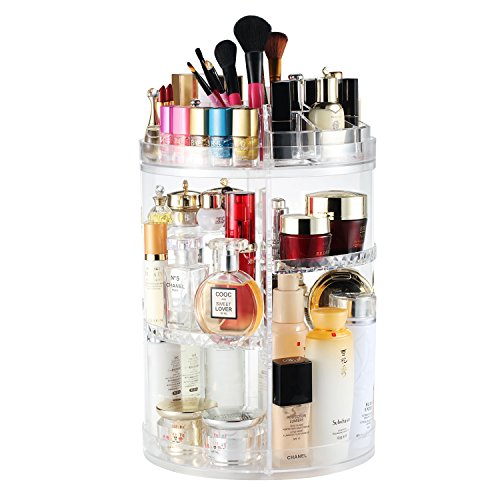 Dresser Round Set - Boxalls Rotating Makeup Organizer, 360 Degree Crystal Adjustable Jewelry Cosmetic Perfumes Display Stand Box, 380 x 260 MM 8 Layers Great Capacity Make Up Storage for Dresser, Bedroom, Bathroom