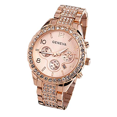 WUAI Luxury Watch Unisex Crystal Diamond Watches Rose Gold Stainless Steel Quartz Watch