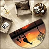 """Africa Half Round Door mats Giraffes on Bushes by The Lake Surface Horizon in The Middle of Nowhere Image Bathroom Mat H 55.1"""" xD 82.6"""" Orange Black"""