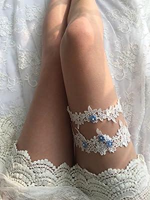 YuRong Wedding Floral Garter Set Beaded Lace Garter Set Bridal Garter G02