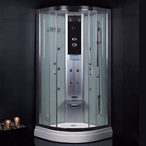 Plato de ducha de vapor de eago DZ934F3 de plata de 90 x 90 y vapor para cabina de ducha F3-Serie: Amazon.es: Hogar