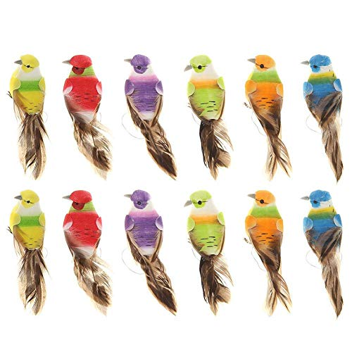lwingflyer 12pcs Artificial Simulated Feather Birds with Claw Foam Mini Love Birds for Craft Home Ornaments Garden Wedding Decoration Embellishing 12cm/4.7inch