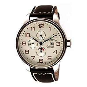 Zeno-Watch Mens Watch - OS Retro Power Reserve, Dual-Time, Day Date - 8055-e2