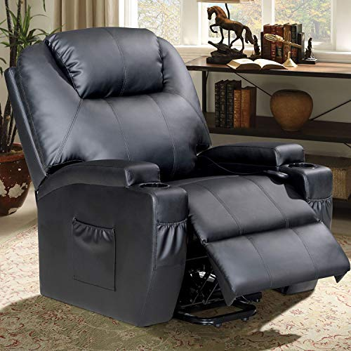Massage Recliner Heated Chair,360 Degree Swivel 8-Vibration Motors Sofa with Cup Holder and Remote Black