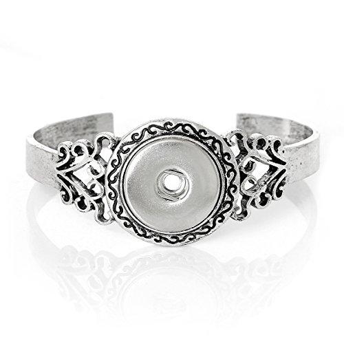 Snap Button Hard Bangle Bracelet, Antiqued Silver Tone - 7.5 inch