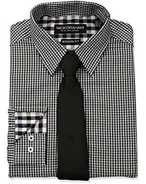 Men's Mini Gingham Check Dress Shirt with Solid Tie Set