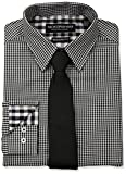 Nick Graham Mens Mini Gingham Check Dress Shirt With Solid Tie Set