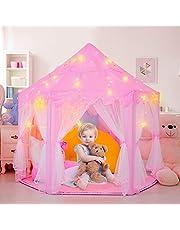Tenda gioco per Bambini Rosa, Castello di gioco Principessa Play Tent con il LED, Castello di gioco per il regalo di Childs Toddlers