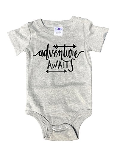 Gray crew neck Baby Tee Time Adventure awaits One piece 6-12 (Kids Adventure Time Onesie)