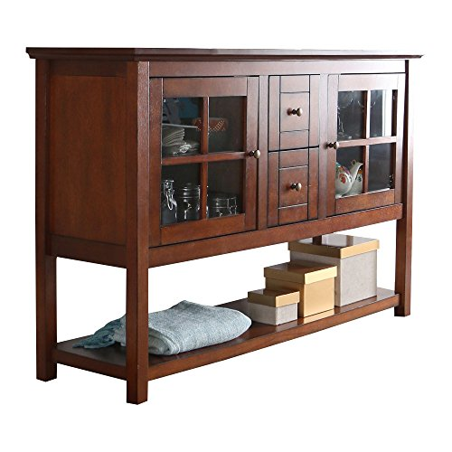 (Media Console Table With Storage - Large Glass Doors TV Stand - Entertainment Center or Sideboard - This Piece Of Furniture Is Multipurpose (Rustic)