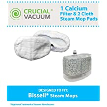 1 Bissell Vacuum Cleaner Water-Calcium Filter & 2 Mop Pads, Fits The Bissell Vacuum Steam Mop 218-5600, Part # 2185600, 218-5600, 203-2158, 2032158, 3255 & 32525, Designed & Engineered by Crucial Vacuum