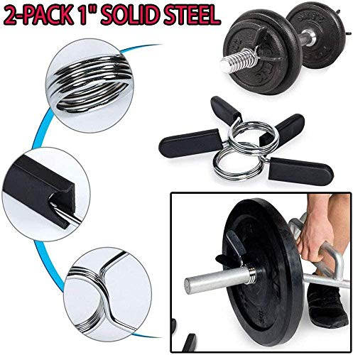 2-Pack-Barbell-Spring-Collar-Clips-25mm-28mm-30mm-50mm-Exercise-Collars-Dumbbell-Clamps-for-Olympic-Bars-Weight-Gym-Fitness-Training-DumbbellsSoft-Plastic-HandlesHigh-Grade-Steel