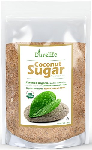 DureLife Organic Coconut Sugar 100% Pure & Natural USDA Certified a Non GMO Low Glycemic Sweetener Packaged in a Resealable Stand Up Pouch Bag, 3 lb (48 oz)
