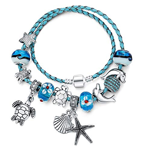 Majesto European Ocean Beach Charm Beaded Leather Blue Wrap Bracelet 8.5 Inch for Women and Teen Girls Turtle Starfish Seashell Dolphin Dangle Charms Murano Glass Beads Prime Gift
