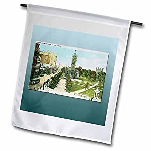 BLN Vintage US Cities and States Postcards - Chapel Street, New Haven, Connecticut Park and Street Scenewith Street Car - 18 x 27 inch Garden Flag (fl_160736_2)