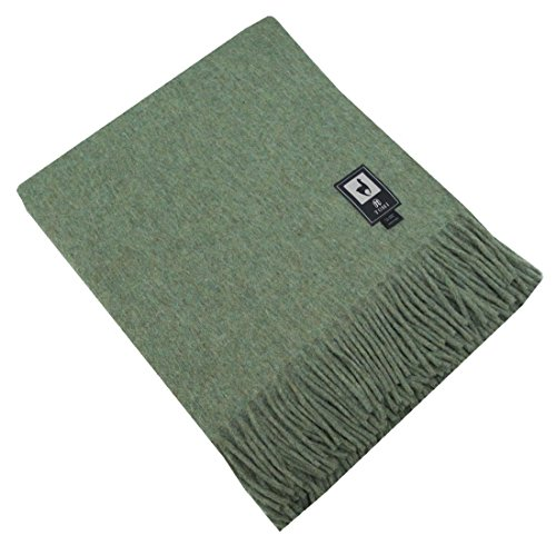 Fringed Merino Wool Throw - Superfine Natural Alpaca Yarn & Merino Wool Woven Blanket Fringed Throw (Soft Green)