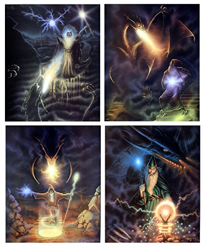 Magical Fire Dragon Wizard Fantasy Kids Room Four Set 8x10 Picture Wall Decor Art Print Posters