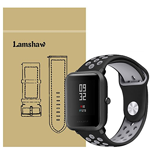 Price comparison product image For Xiaomi Amazfit Bip Band, Lamshaw Silicone Soft Band with Ventilation Holes Replacement Straps for Xiaomi Huami Amazfit Bip Younth Watch (Ventilation Holes Silicone_Black+Gray)