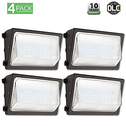 4 PACK - UL & DLC Listed- LED 50W Wall Pack Outdoor Lighting, 5000K Cool White, 4,500 Lumens, 250 Watt Eqvlncy, 50,000 Life Hours, (Visor Included) HIGHEST Quality, Wall Light, Industrial, Commercial