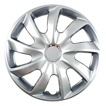 Tapacubos Stick Plata 15 Pulgadas apto para Nissan 100 NX, ALMERA, Micra, Pixo, prairie Pro: Amazon.es: Coche y moto