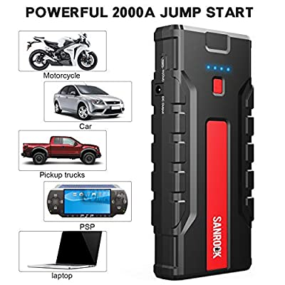 SANROCK Portable Car Jump Starter- 2000A Peak 16000mAh 12V Super Safe Auto Lithium Battery Charger, Booster Portable Power Pack, Power Bank Type-C Port, Dual Quick USB Ports, Smart Jumper Cables