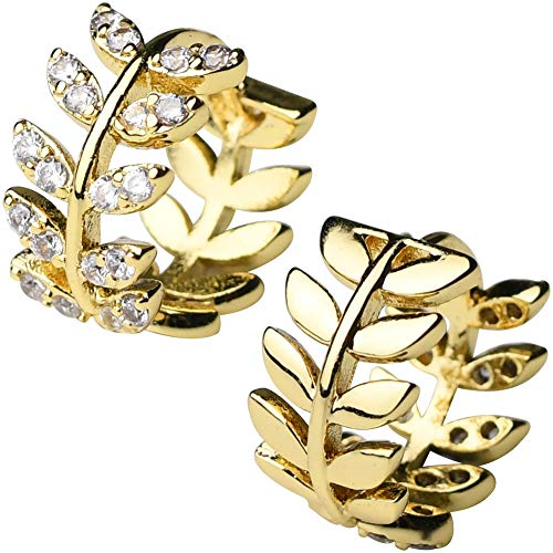 (MIUPER BLOsssM 18K Gold Plated Alloy Cubic Zirconia Olive Branch Leaf Ear Cuff Wrap Small Hoop Earrings for Women)