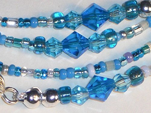 beaded-eyeglass-chain-handmade-mixed-ocean-blue-6mm-faceted-glass-bead-accents-fancy-ends-28-new