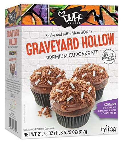 Duff Goldman Graveyard Hollow Premium Cupcake Kit Halloween Special Edition, Contains Cupcake Mix, Graham Crumble, Candy Bones (1 -