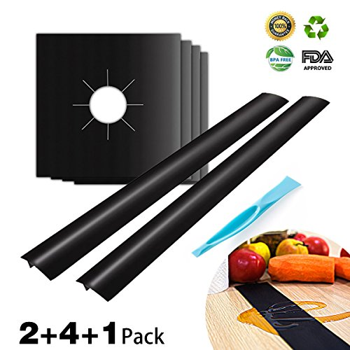 Kitchen Silicone Stove Counter Gap Cover and Gas Stove Burner Covers HahaBear Reusable Easy Clean Liners Non-Stick Heat-resistant (Range Cap Black Burner)