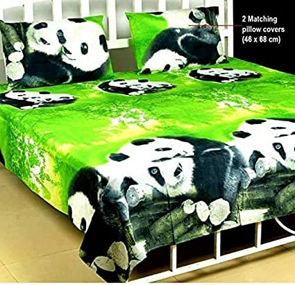 Micky Handloom 110 TC Green Panda 100% Cotton Double Bed Sheet with 2 Pillow Covers- 3D
