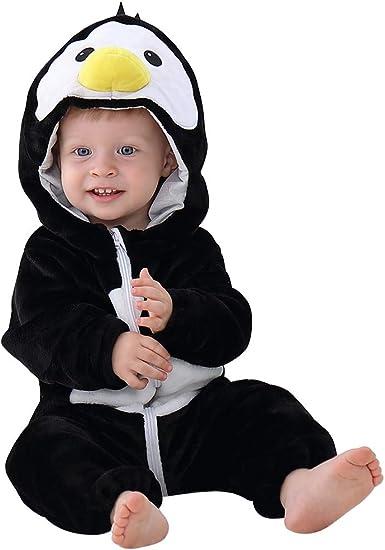 MICHLEY Unisex Baby Hooded Winter Romper Animal Flannel Pyjamas 2-24 Months