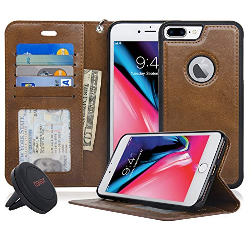 Navor Detachable Magnetic Wallet Case & Universal Car Mount Compatible for iPhone 8 Plus [RFID Theft Protection] JOOT-1L Series -Brown