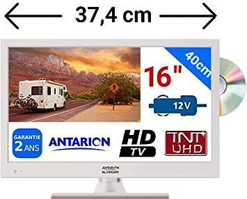 Televisión TV HD LED + DVD 39,6 cm blanca 220 V /12 V /24 V ...