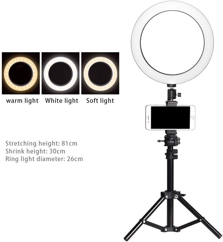 JIAX Outer Dimmable Tabletop Ring Light Kit for Photo Studio Portrait Video Shooting LED Dimmable Ring Video Light Color : Style 2 3 Light Modes,Phone Holders,Brightness