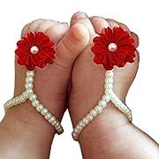 FEITONG Cute Pearl Chiffon Barefoot Toddler Foot Flower Beach Sandals