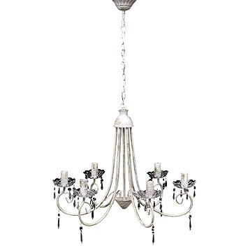 vidaXL Lámpara colgante de cristal de techo Araña blanco 5 portalámparas