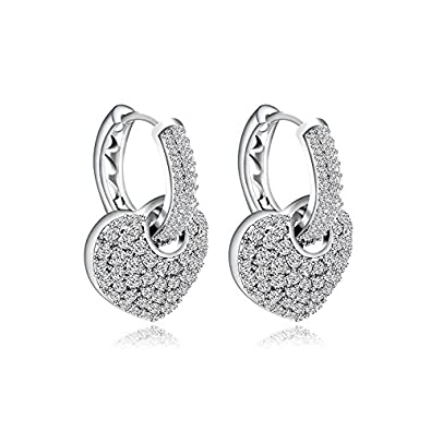 a97de7ef90feda Buy Yellow Chimes A5 Grade Crystals Heart in Hoops Platinum Plated Two Way  Silver Crystal Earrings for Women & Girls (White) (YCSWER-407HRT-WH) Online  at ...