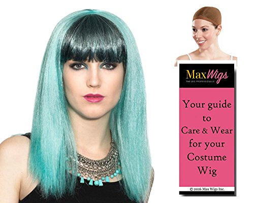 Lady Gaga color SKY BLUE - Enigma Wigs Rocker Pop Star Bundle w/Cap, MaxWigs Costume Wig Care (Lady Gaga Curly Blonde With Pink Wig)