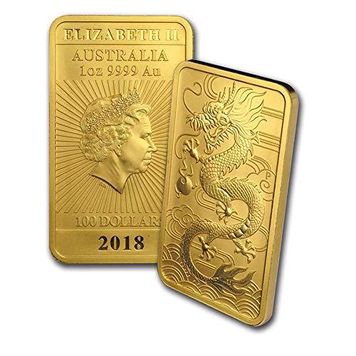 2018 - Present 1oz Gold Bar Australia Perth Mint Dragon Series Coin $100 Brilliant Uncirculated