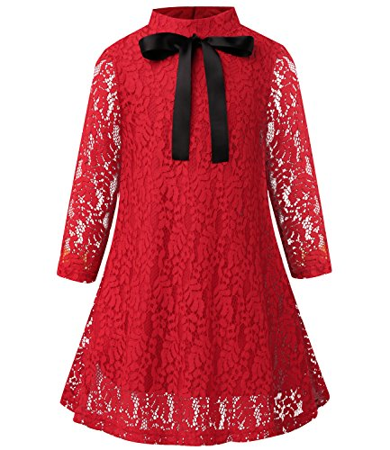 Christmas Lace - SPEINY Girls Long Sleeve A-Line Christmas Lace Dress 4-5 Years Red