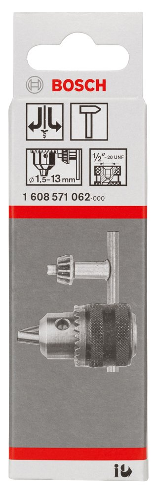1//2-20 Bosch 1608571062 Mandrin /à cl/é jusqu/à 13 mm 1,5-13 mm