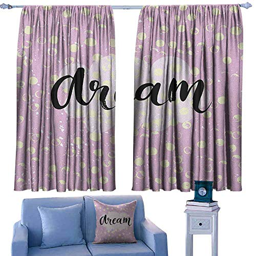 Mannwarehouse Motivational Privacy Curtain Hand Written Style Dream Word on a Cloud Shape and Grungy Dots Darkening and Thermal Insulating 72