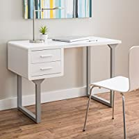 Retro White and Grey Writing Desk (30 high x 45 wide x 22 deep)